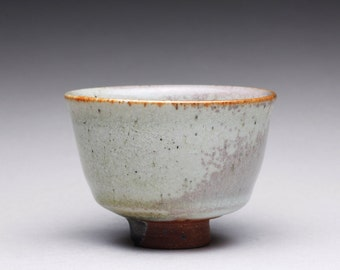 RESERVED handmade ceramic cup, yunomi, teacup, espresso cup with orange shino and light grayish green wood ash glazes