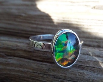Opal Triplet and Sterling Ring