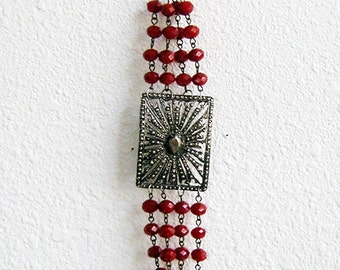 Beaded Bracelet, Silver and Red, Red, Silver, Red and Silver, Red Beaded Bracelet, Decadent Jewelry, Modern Vintage, Neo Victorian