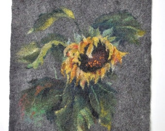 Felted painting of wool. Felted wall hanging picture. AUTUMN. OOAK.