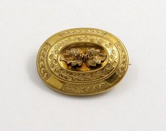 Antique Victorian Etruscan Revival Pinchbeck Brooch Pendant