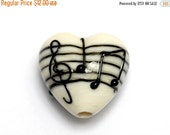 ON SALE 50% OFF New! Handmade Glass Lampwork Bead - 11838805 Musical Notes Heart