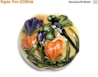 ON SALE 50% OFF Green Dragonfly w/Orange Flora Lentil Focal Bead - Handmade Glass Lampwork Beads - 11816802