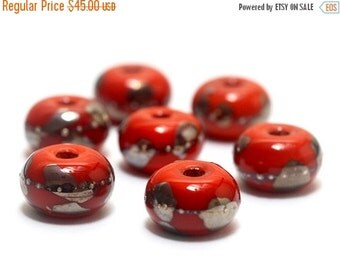 ON SALE 50% OFF Handmade Glass Lampwork Bead Set - Seven Electric Orange Metallic Rondelle Beads 10705001