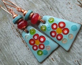 Aqua and Red Floral Enameled Copper Charm Earrings