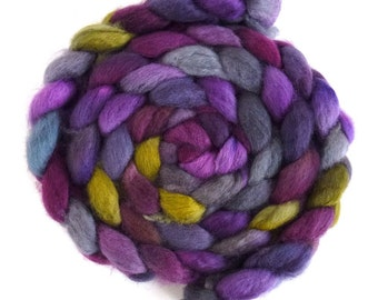 BFL Wool Roving - Hand Painted Spinning or Felting Fiber, Poison and Wine