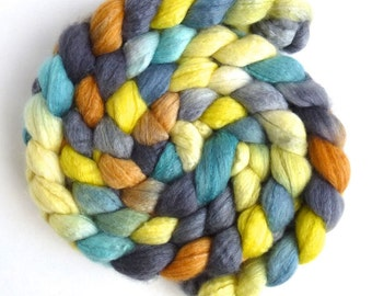 Blueface Leicester/ Tussah Silk Roving (Top) - Handpainted Spinning or Felting Fiber,  East Window