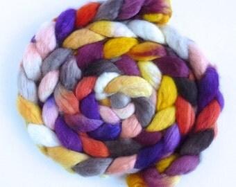 BFL Wool Roving - Hand Painted Spinning or Felting Fiber, Brighten Up
