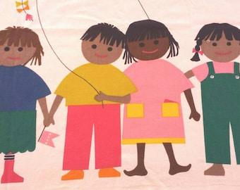 Vintage International Printworks Kids Unity Fabric Wall Hanging 70s
