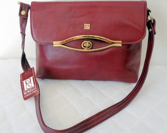 Borelli Collection glam bag , clutch , satchel purse handmade genuine thick leather deep maroon vintage 70s Never Used NOSpristine cond