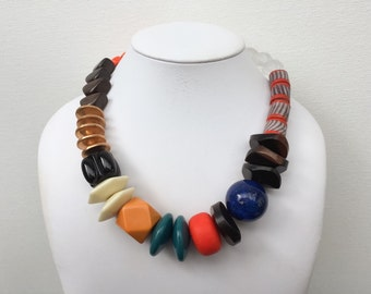 Necklace 2.27 - handmade beaded asymmetrical one of a kind chunky colorful funky statement necklace featuring vinage lucite wood glass beads