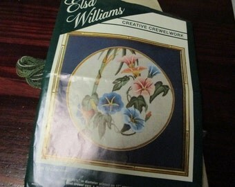 Elsa Williams Crewel Embroidery Kit Prelude Circle Kit 00119 Vintage Kit Morning Glory