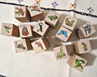 14 vintage stamps small size stamps wooden blocks stamps