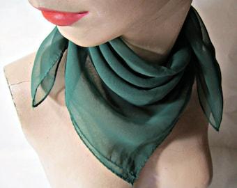 Green Nylon Scarf  Vintage Nylon Wrap  Vintage scarf.