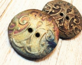 Reserved for Loretta One Raku Textured Buttons With a Flourish Raku  Two Hole