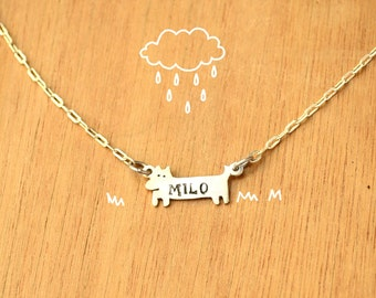 Dog with name stamped-Necklace Chain-Personalized Pet -Sterling Silver-Animal Dog Pendant