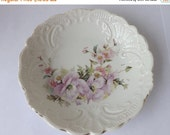 Fall Sale Antique berry bowl floral berry bowl embossed china bowl lavender flowers shabby cottage style decor