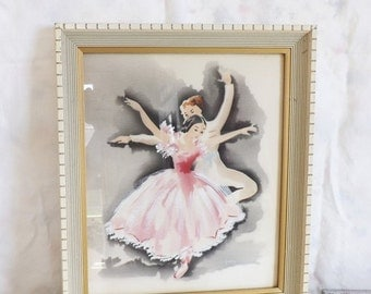 Valentines Day Sale Vintage framed Harris ballet dancers airbrush watercolor painting original painting shabby home decor pink ballerina pin