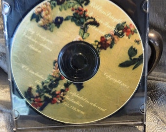 "Victorian Alphabet for Silk Ribbon CD - features color and b&w line art 6"" Size"