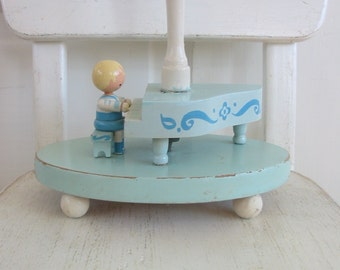 Vintage Child Lamp, Vintage Boy Lamp, Baby Lamp, Piano Instrument Music Lamp, Blue Wood Irmis Lamp