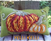 Pumpkins Hand Embroidered Pillow Ready to Ship