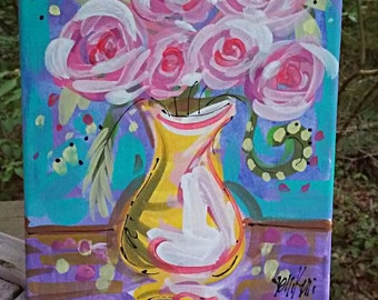 Abstract Roses in Vase Painting Ready to Ship 8 x 10 YelliKelli