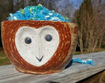 Yarn Bowl - Barn Owl Face - Heart Face - Knitters Organizer