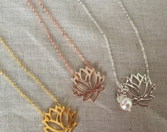 Lotus Flower Necklace, bridal jewelry, yoga jewelry, flower Necklace