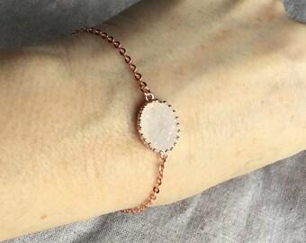Oval Druzy rose gold Bracelet, rose gold jewelry, Druzy Bracelet, Druzy Jewelry, bridesmaid gift