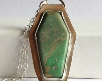 Coffin Necklace with Chinese Turquoise - Halloween Jewelry - Halloween Necklace - Hidden Cat