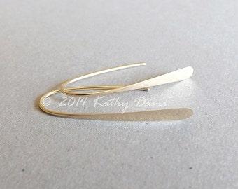 14k Gold Hoops Small Solid Gold Wishbone Earrings Open Hoop Eco Friendly minimal earrings, jewelry gift idea
