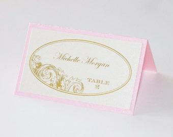 Eva Wedding Place cards - Escort cards - Table Name cards - Vintage Wedding Decor - Ivory Gold Pink