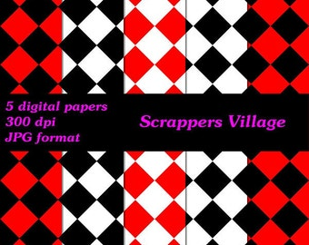 """8 x 8"""" Checkered Pattern Digital Scrapbook Paper Set #1, 5 Pages"""