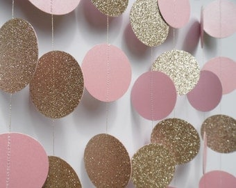 Champagne Glitter and Pink Circle Garland, Party Decoration, Bridal Shower Decor, Photo Prop, Paper Garland