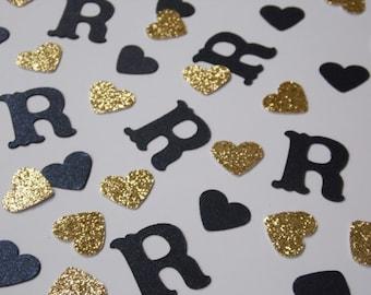 Navy Blue Monogram Confetti, Gold Wedding Shower Decor, Wedding Reception Table Scatter, Bridal Shower Decoration, Glitter Hearts