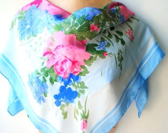 Victorian garden vintage 60s silk scarf with a watercolor print pink and blue tea roses. Made by Vera.