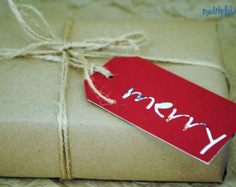 Holiday Set of 8 Merry Gift Tags, double sided, tied with jute twine, mad4plaid, perfect for gift bags or bottles