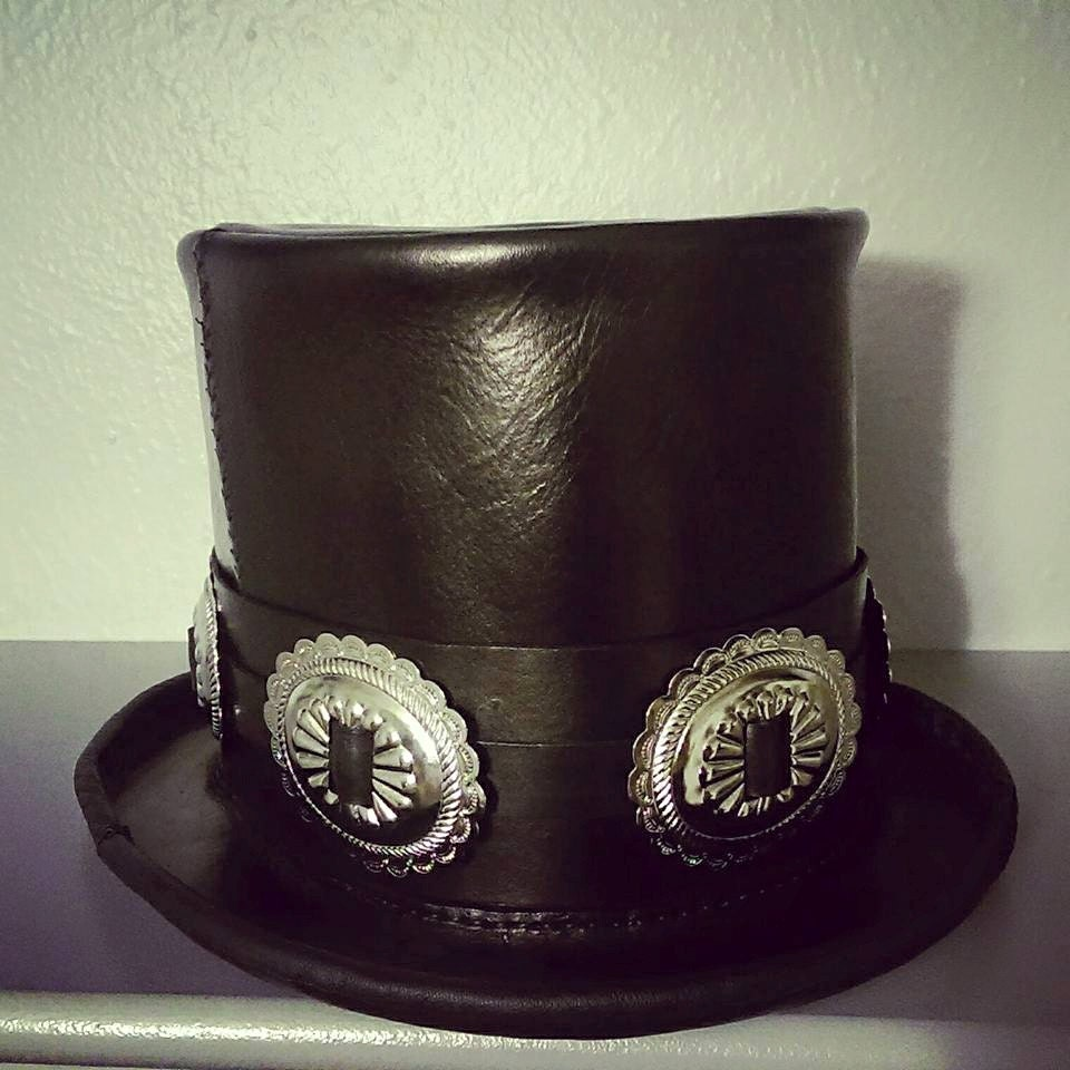Leather Slash Top Hat For Toshi Araki