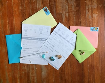 Kid Thank You Notes - Letterpress Letter Writing Kit