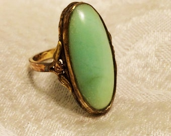 Vintage Clark and Coombs Size 7, 10K Gold Filled Ring with Pale Green Oval Stone or Glass Cabochon Tiny Floral Design on Side 1930s  (J17)