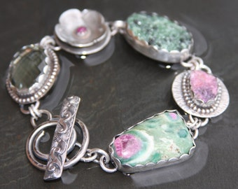 RESERVED for A oOo green amethyst, ruby, zoisite druzy, cobalto calcite, ruby in fuchsite, and sterling silver metalwork link bracelet