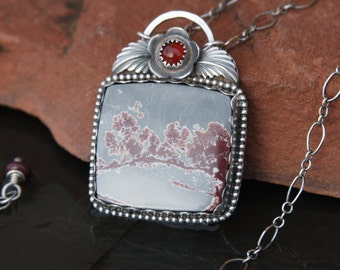 sonora dendrite, carnelian and sterling silver pendant necklace