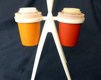 Vintage Tupperware Atomic Salt and Pepper Shakers with Stand