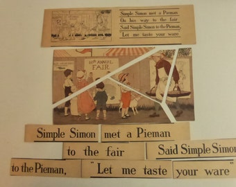 Rescued Antique Children's Puzzle Gibson's New Mother Goose Puzzle Cards Simple Simon