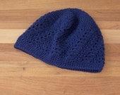 Lace Beanie - Skull Cap - Boho Beanie - Crochet Hat - Navy Blue Color