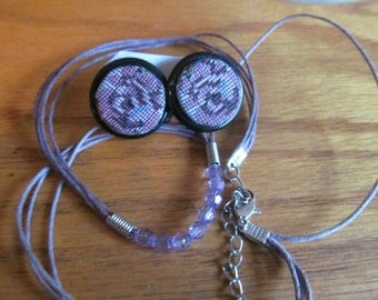 lavender button post with necklace