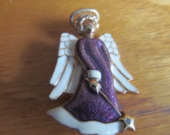 fancy purple angel brooch