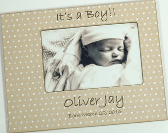 Newborn Baby Boy Photo Frame, Birth Statistics, personalized baby frame 4x6, 5x7