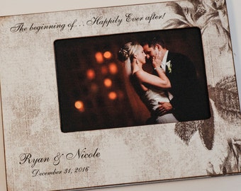 Personalized Engagement Frame, Happily Ever After frame,  Custom Wedding Photo Frame 4x6 / 5x7