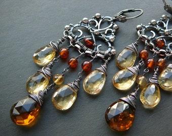 Filigree and gemstone handmade chandelier earrings IV - sterling silver, beer quartz, citrine and hessonite garnet